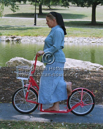 Amy Hoffman on an Amish Scooter